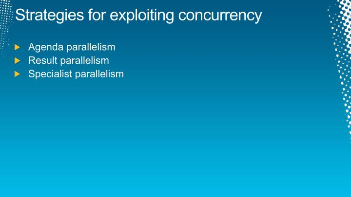 Strategies for exploiting concurrency