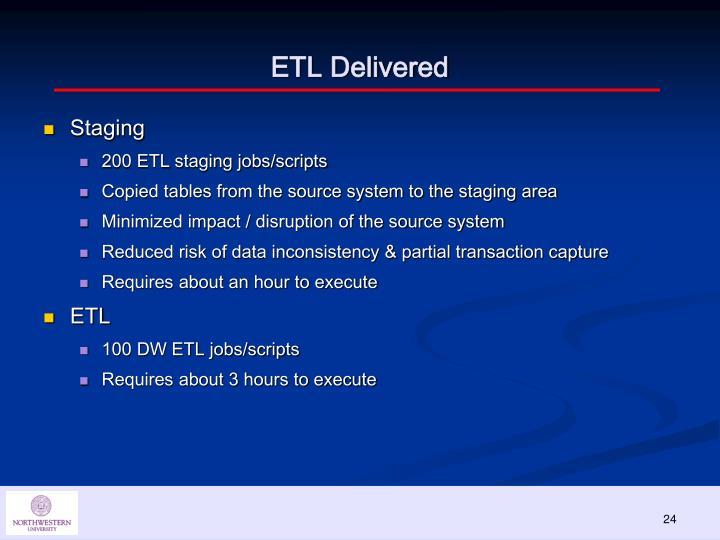 ETL Delivered