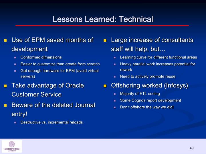 Lessons Learned: Technical