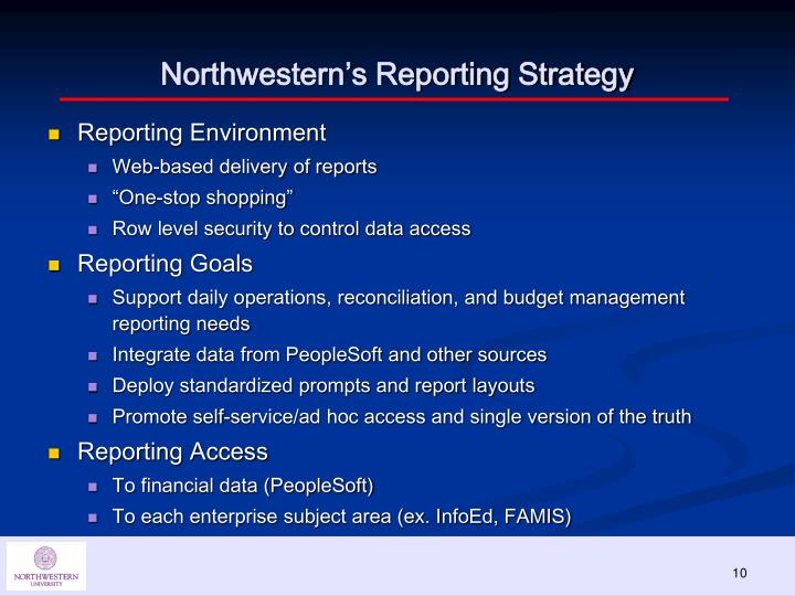 Northwestern's Reporting Strategy
