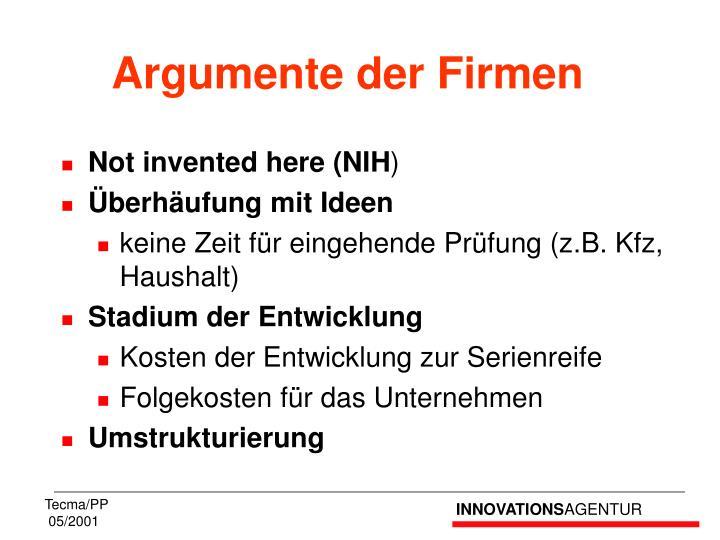 Argumente der Firmen