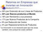 retornos en empresas que invierten en innovaci n prof ing luis f hevia r