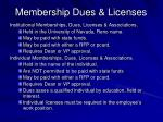 membership dues licenses
