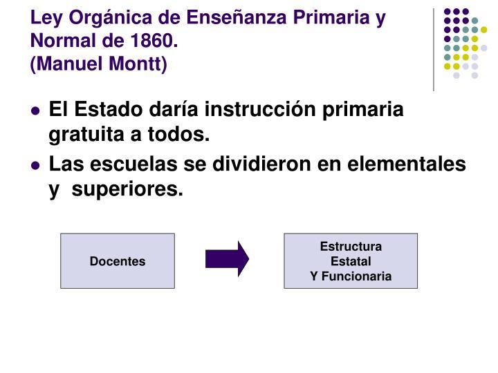 Ley Orgánica de Enseñanza Primaria y Normal de 1860.