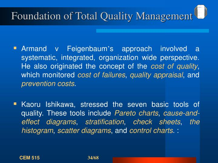 Foundation of Total Quality Management