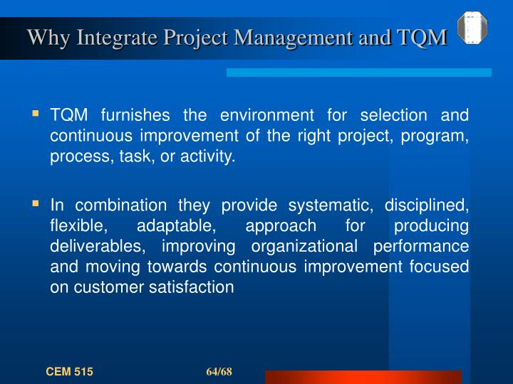 Why Integrate Project Management and TQM
