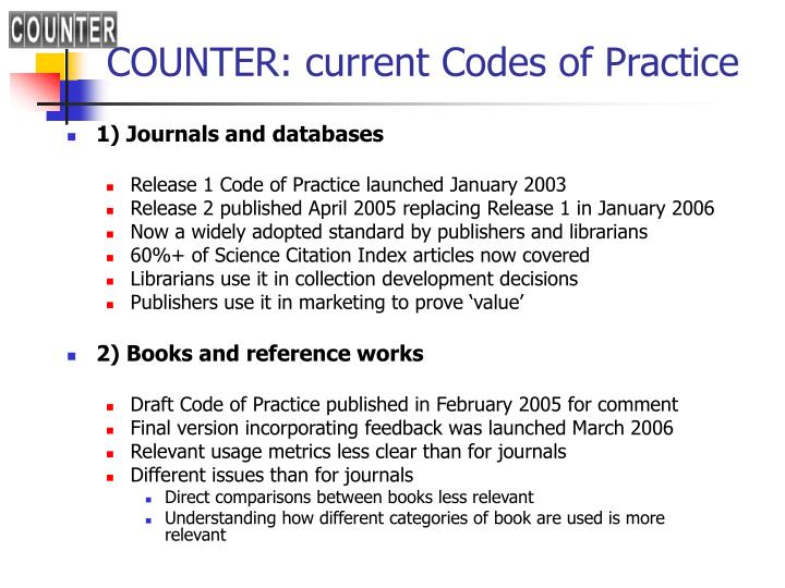 COUNTER: current Codes of Practice