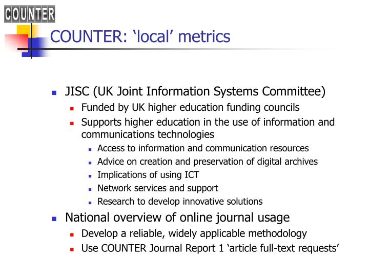 COUNTER: 'local' metrics