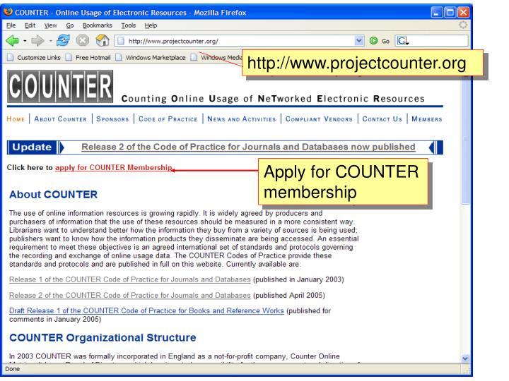 http://www.projectcounter.org