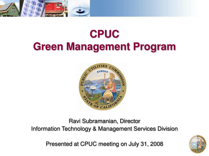 cpuc green management program n.