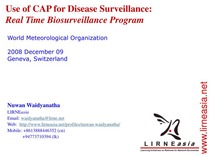 use of cap for disease surveillance real time biosurveillance program n.