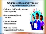 characteristics and types of organizational culture