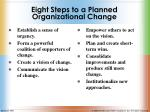 eight steps to a planned organizational change