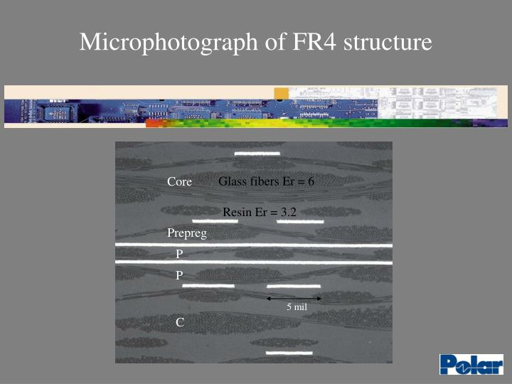 Microphotograph of FR4 structure