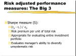 risk adjusted performance measures the big 3