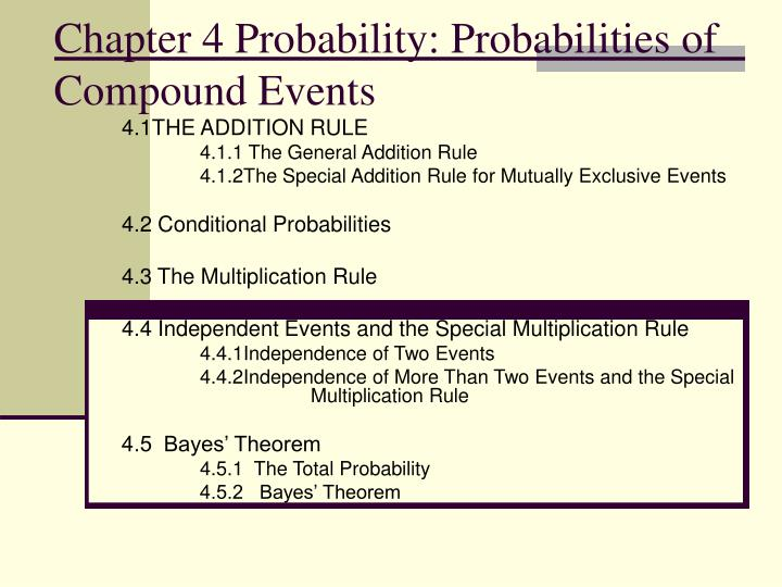 chapter 4 probability probabilities of compound events n.