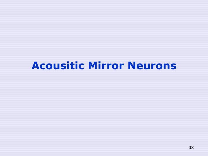 Acousitic Mirror Neurons
