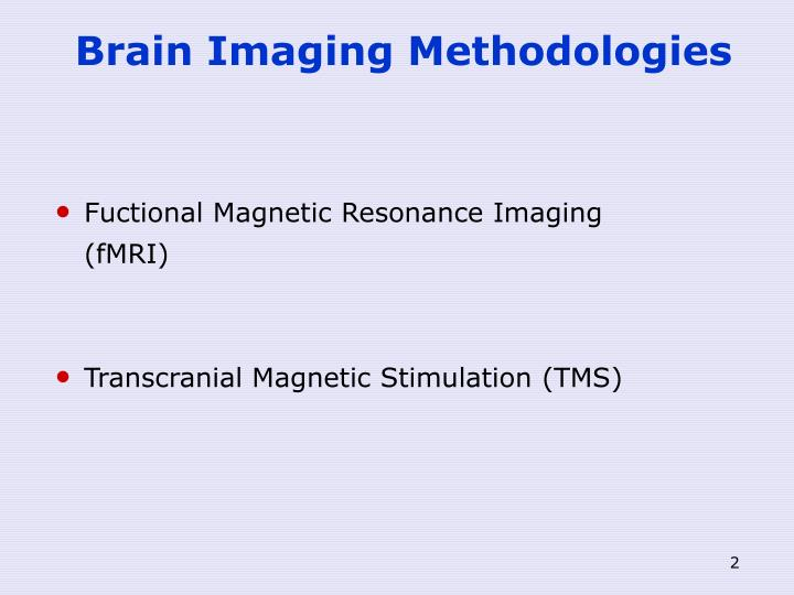 Brain imaging methodologies