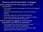 poverty and environment linkages