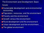 the environment and development basic issues