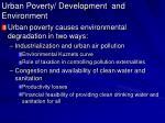 urban poverty development and environment