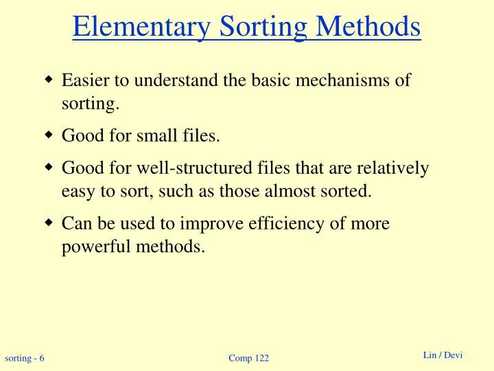 Elementary Sorting Methods