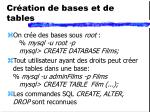 cr ation de bases et de tables