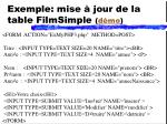 exemple mise jour de la table filmsimple d mo