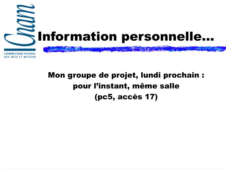 information personnelle n.
