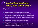 logical data modeling what why when who