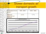 slower domestic air transport growth
