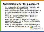 application letter for placement