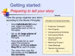 getting started preparing to tell your story