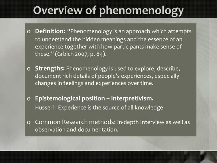Overview of phenomenology