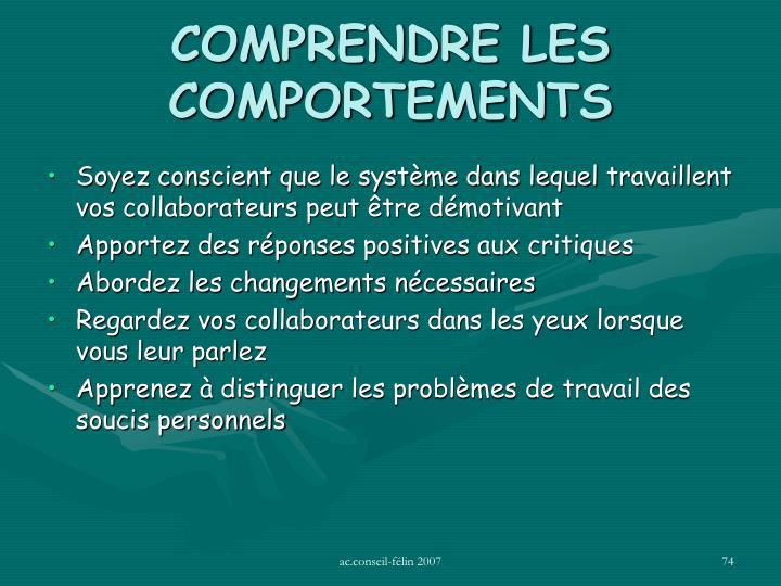 COMPRENDRE LES COMPORTEMENTS