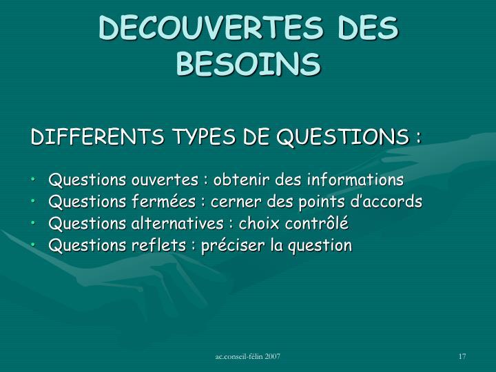 DECOUVERTES DES BESOINS