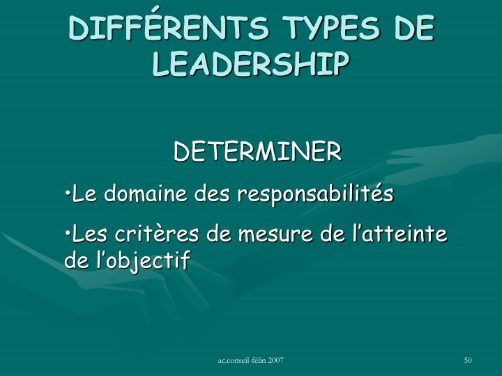 DIFFÉRENTS TYPES DE LEADERSHIP