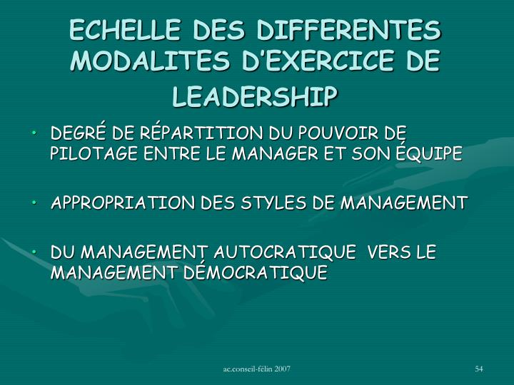 ECHELLE DES DIFFERENTES MODALITES D'EXERCICE DE LEADERSHIP