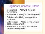 segment success criteria