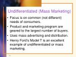 undifferentiated mass marketing