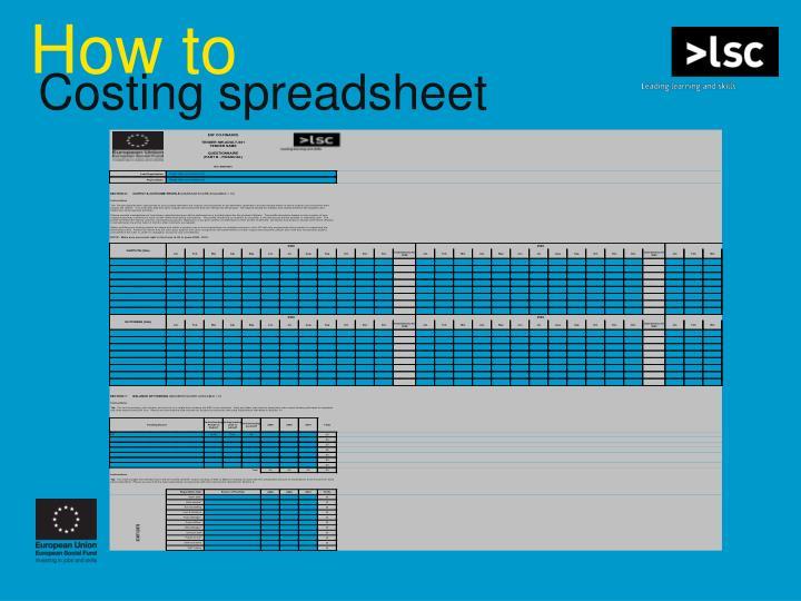 Costing spreadsheet