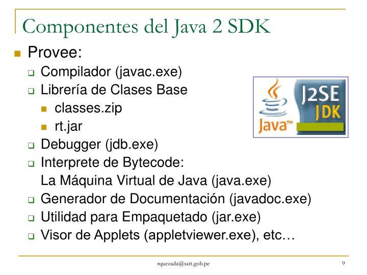 Componentes del Java 2 SDK