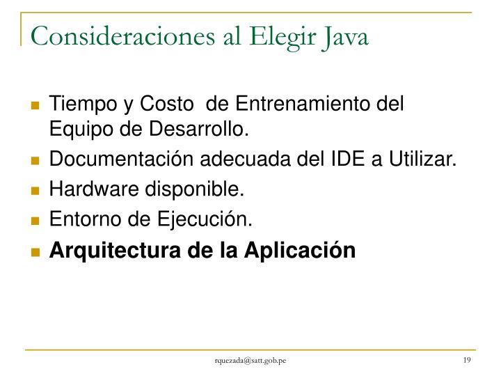 Consideraciones al Elegir Java