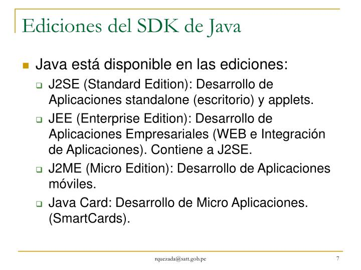 Ediciones del SDK de Java