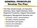 general principles develop the plan