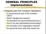 general principles implementation