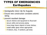 types of emergencies earthquakes