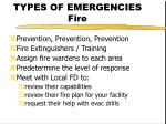types of emergencies fire