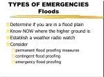 types of emergencies floods