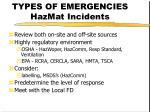 types of emergencies hazmat incidents